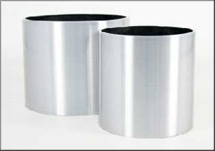 Brushed aluminium plant container with rolled top lip